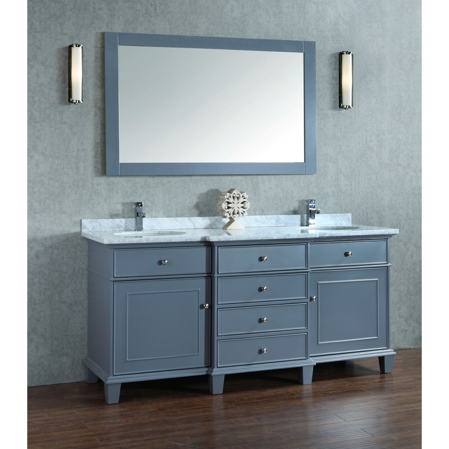 Adana 72 Inch Gray Double Sink Bathroom Vanity Set Gorgeous Unit