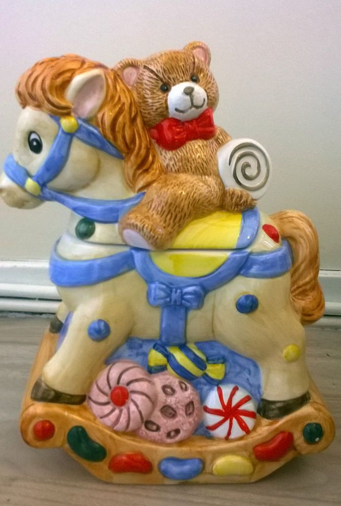 Novelty Cookie Jar Teddy Bear Riding A Pony Biscuit