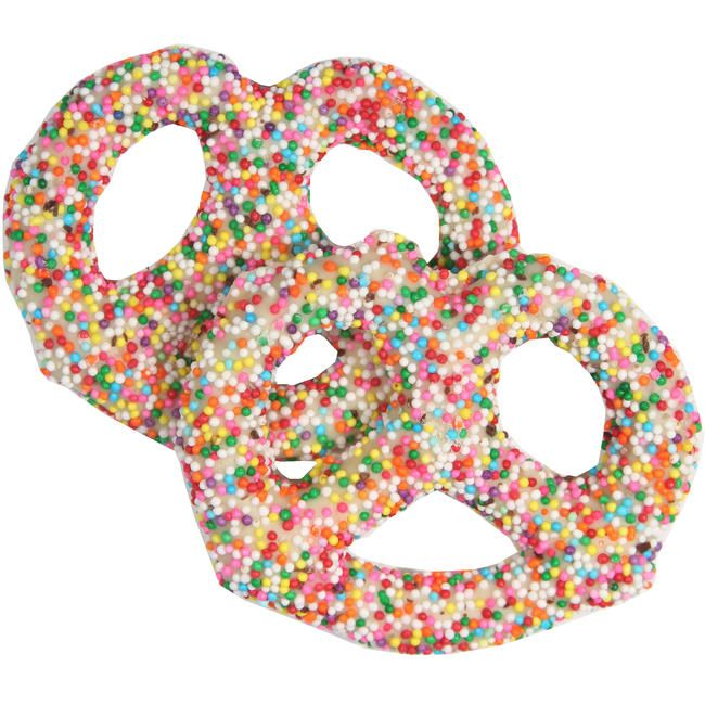 Rainbow Coordinated Fruits: White Chocolate Covered Pretzels With Rainbow Sprinkles