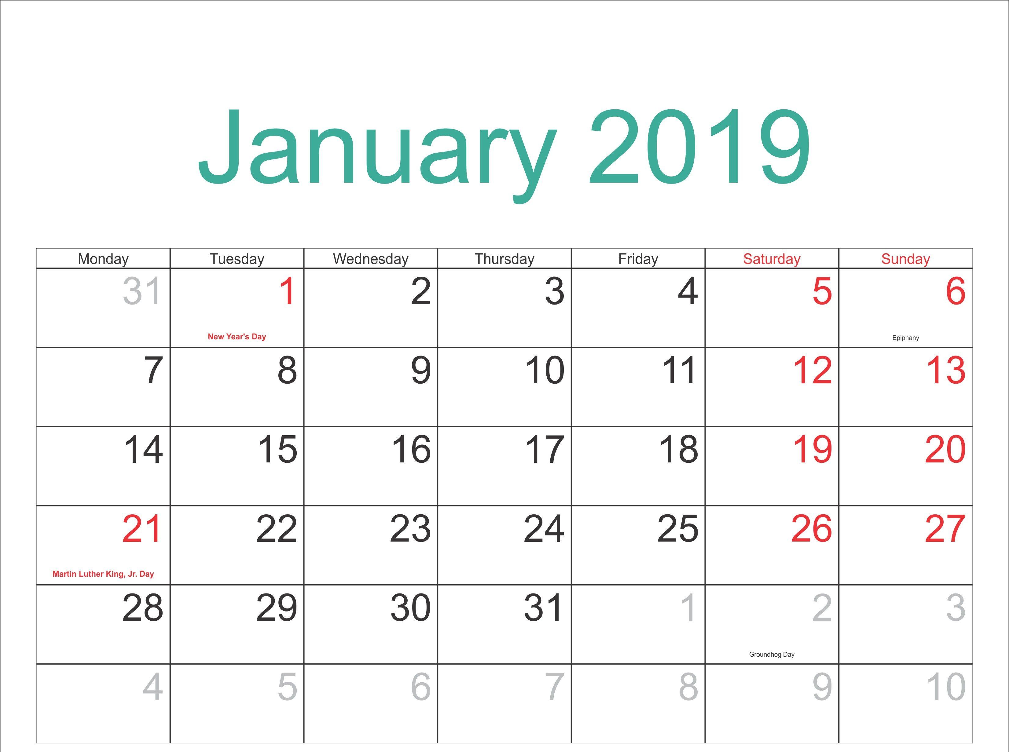 Editable January 2019 Calendar Template Maxcalendars Pinterest
