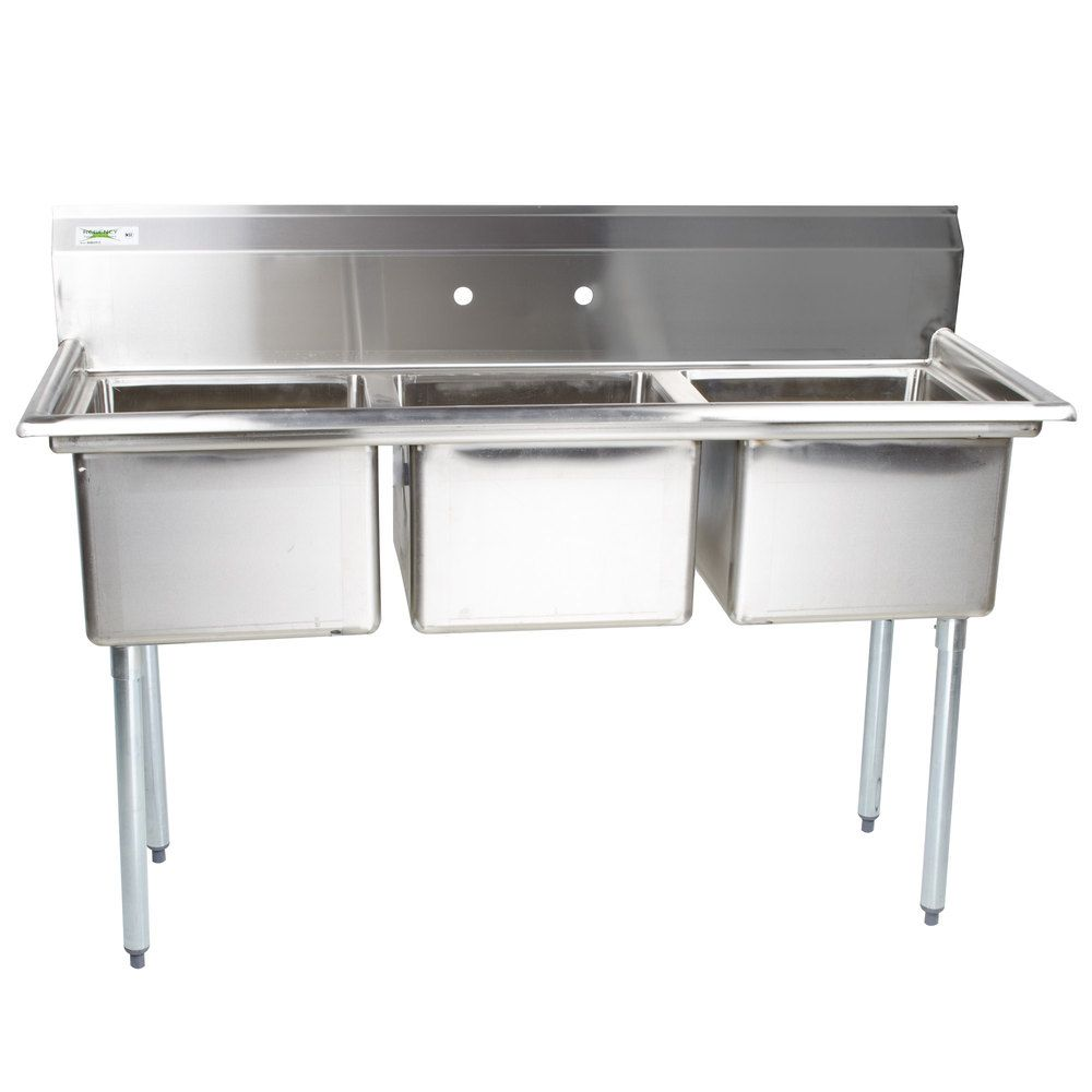 Regency 60 16 Gauge Stainless Steel Three Compartment Commercial Sink With Galvanized Steel Legs And Without Drainboards 17 X 17 X 12 Bowls Commercial Sink Commercial Kitchen Sinks Stainless Steel Kitchen Sink