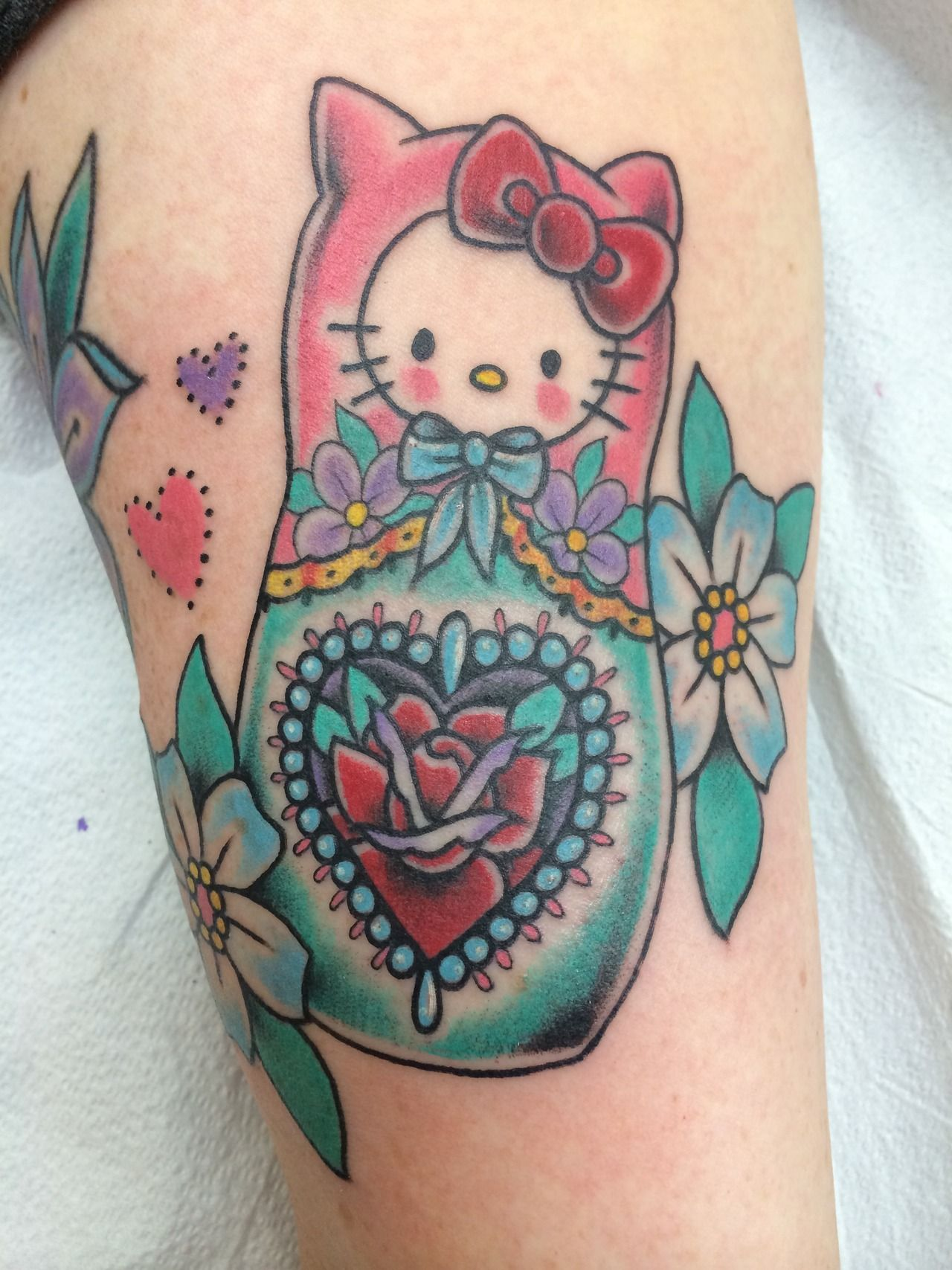 Hello Kitty Matryoshka By Candice Bauman Autumn Moon Tattoo Anaheim Ca Instagram Candeeo Tumblr Goldenbough Hello Kitty Tattoos Moon Tattoo Hello Kitty