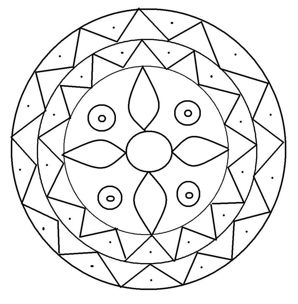 rangoli coloring pages for diwali pictures | Rangoli design coloring printable Page for kids 2 | Free ...