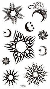 Com Realistic Temporary Tattoosfor Women And Girls One Paper Tattoo Star Tattoos Moon Star Tattoo Sun Tattoos