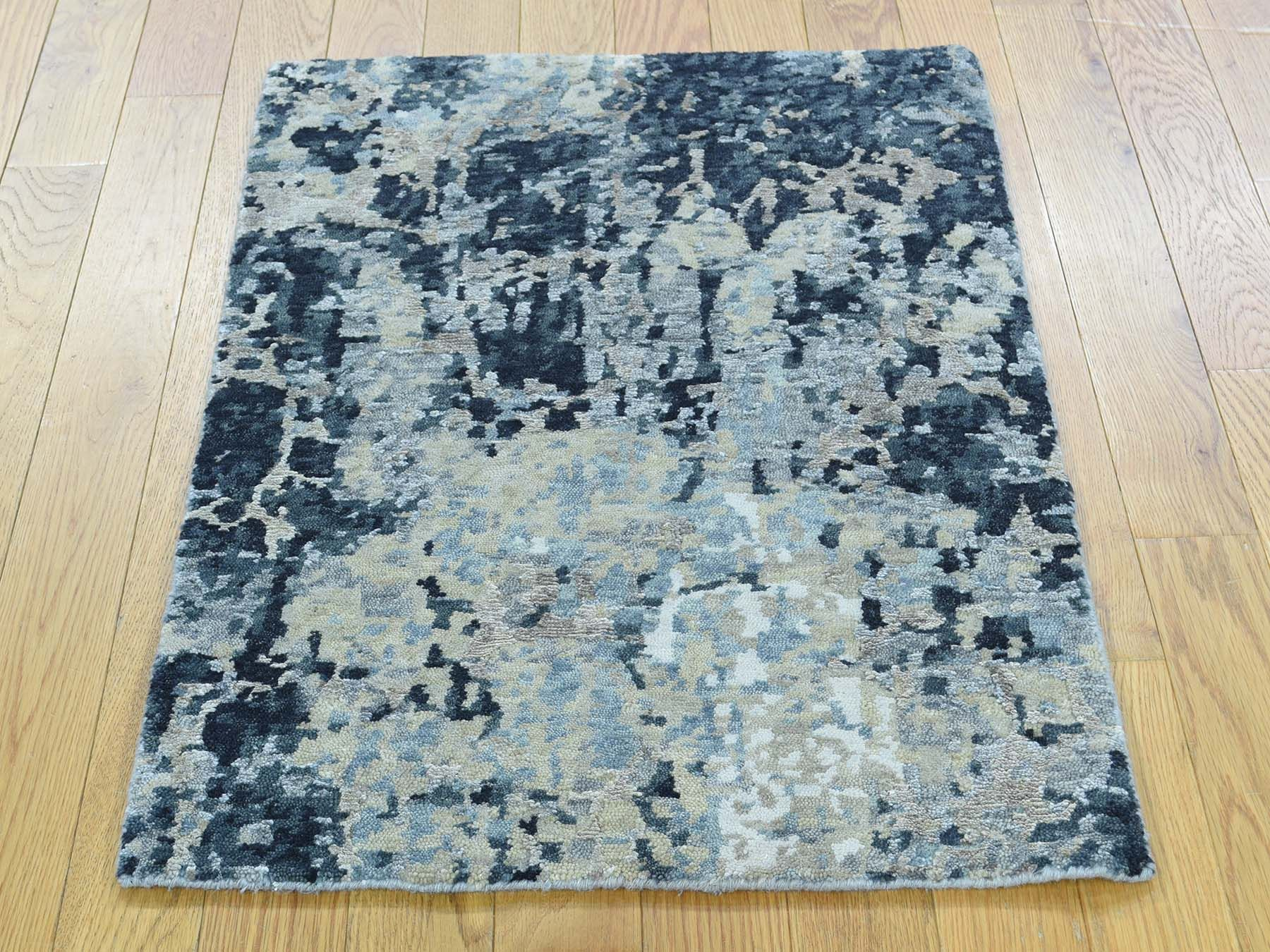 2 X3 Hand Knotted Abstract Design Wool And Silk Modern Oriental Rug