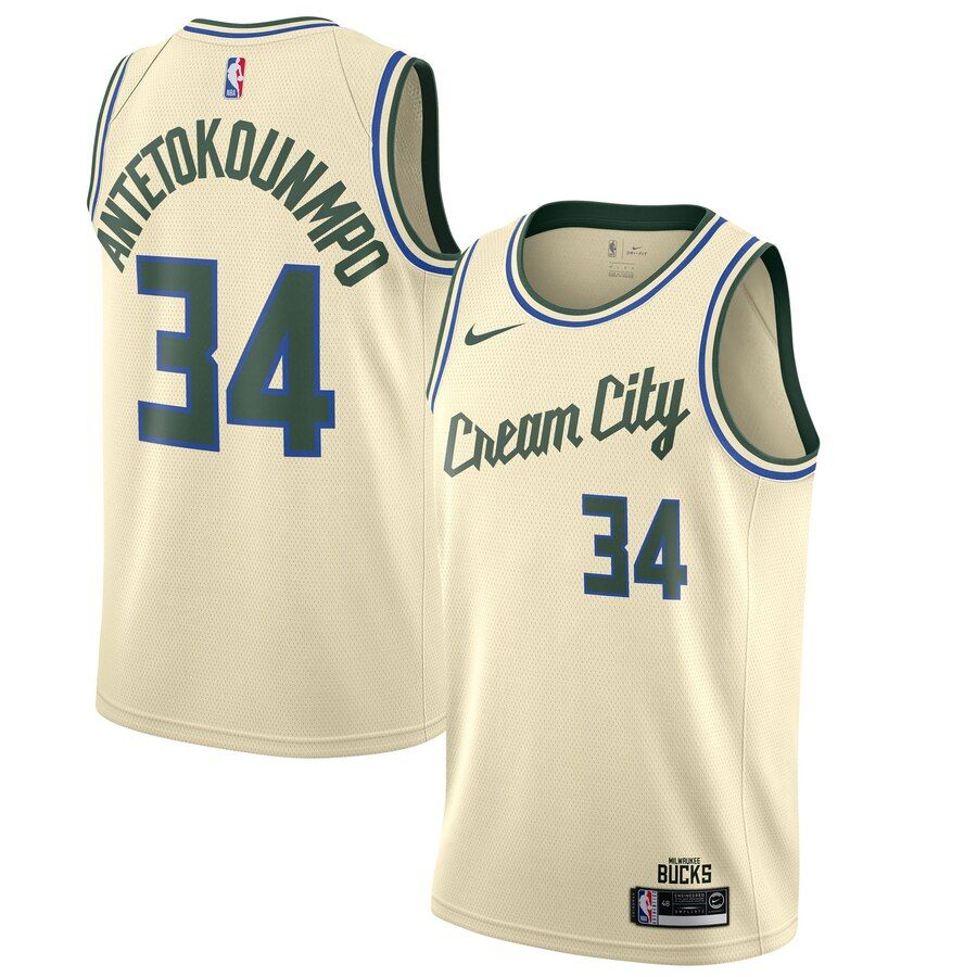 Men S Milwaukee Bucks Giannis Antetokounmpo Cream 2019 20 Finished Swingman Jersey City Edition En 2020