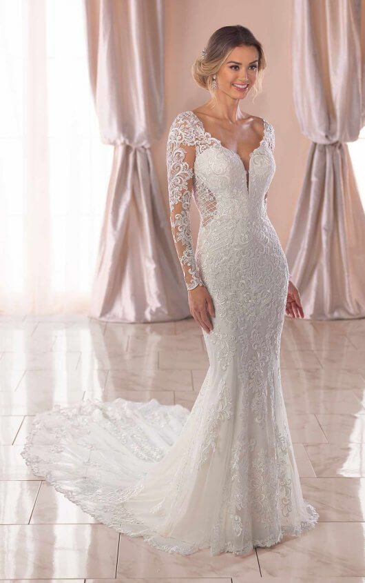f979813265c (I3359) Long-Sleeved Wedding Dress with Open-Back and Stretch Crepe Lining  Feels and Fits Like A Dream!
