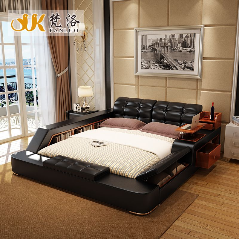 Luxury Bedroom Furniture Sets Modern Leather Queen Size Double Bed With Side Storage Cabinets
