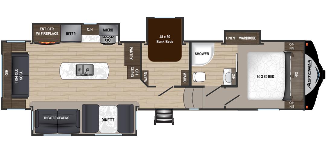 Keystone Rv Mountaineer 345dbq Floorplan Open Bath Bunkhouse Travel Trailer Floor Plans Rv Floor Plans Bunk House