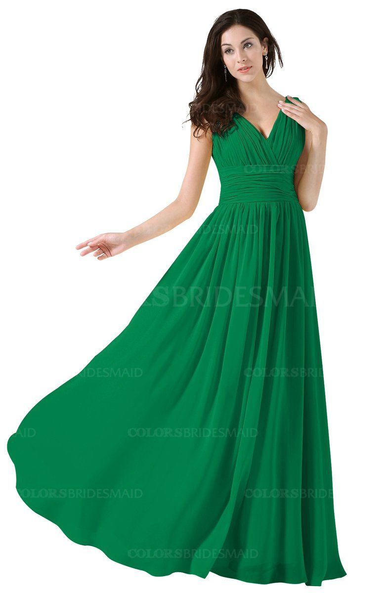 9f9907e80f41 Green colorsbridesmaid.com offers Elegant V-neck Sleeveless Zip up Floor  Length Ruching Bridesmaid Dresses at a discount price. The Chiffon, A-line  ...