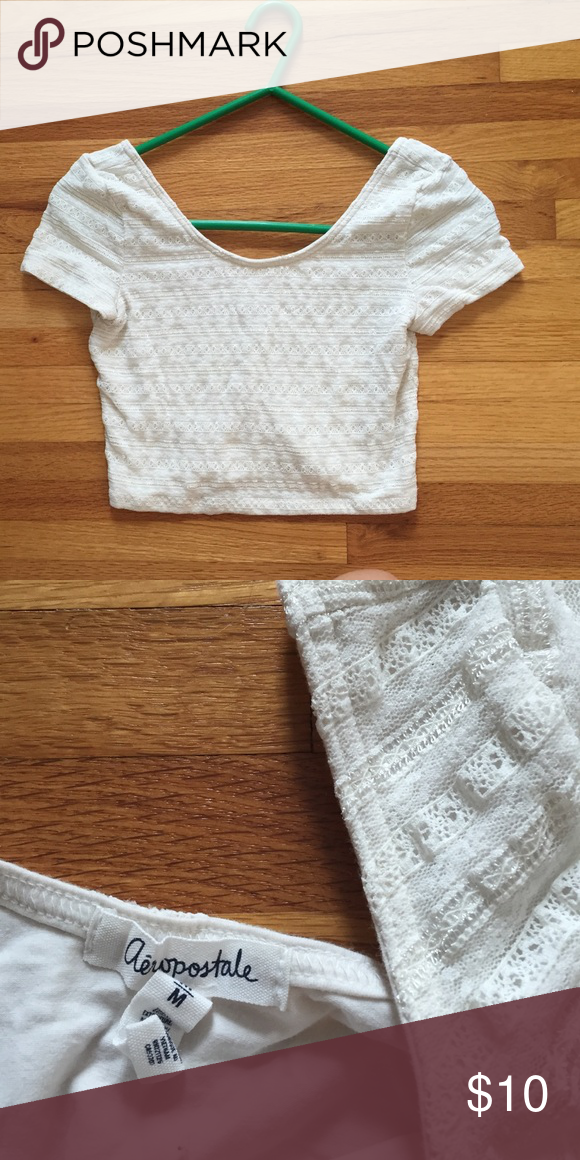 Aeropostle Crop Top White Aeropostle crop top with lace detailing only worn a few times. Aeropostale Tops Crop Tops
