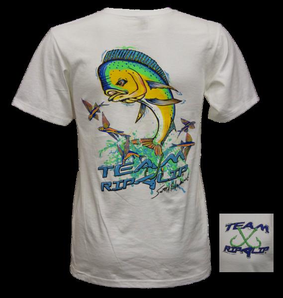 Closeout Dolphin Short Sleeve T Shirt White Rip A Lip Fish Wear