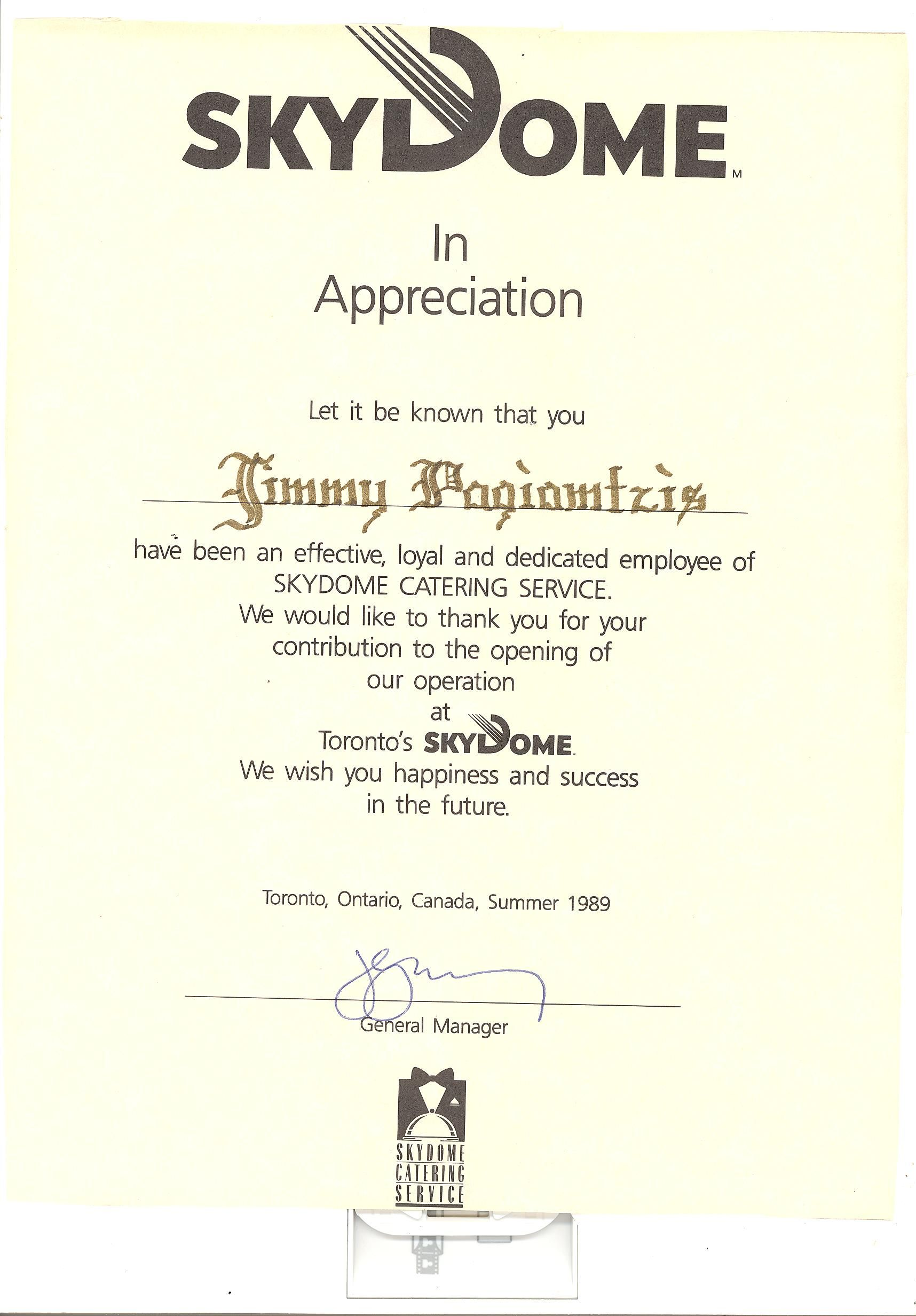 Certificate Of Appreciation Working At Skydome  Bring Back The