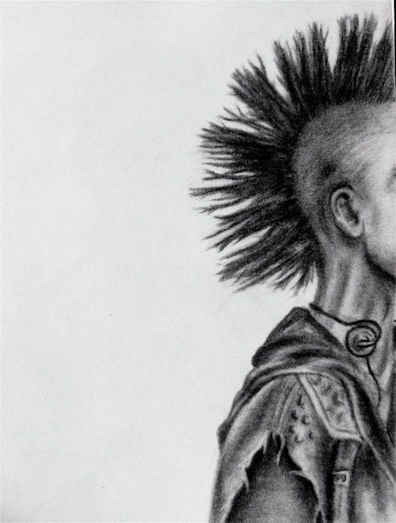 Punk Mohawk Man Pencil Drawing Print By Kelseymuellerart On Etsy 8 00 Drawing Prints Pencil Drawings Drawings