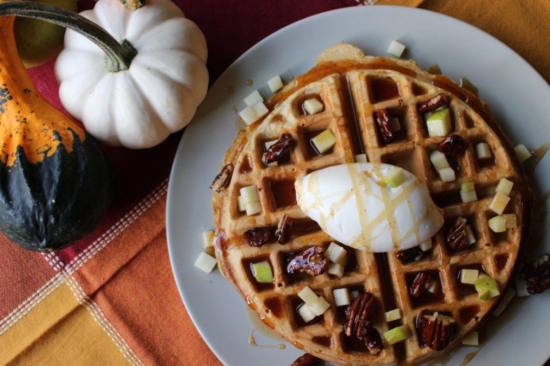 Pumpkin and apple waffles