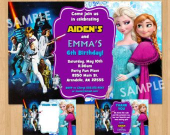 Double birthday party invitation star wars and frozen boy girl double birthday party invitation star wars and frozen boy girl dual twin invitation sibling filmwisefo