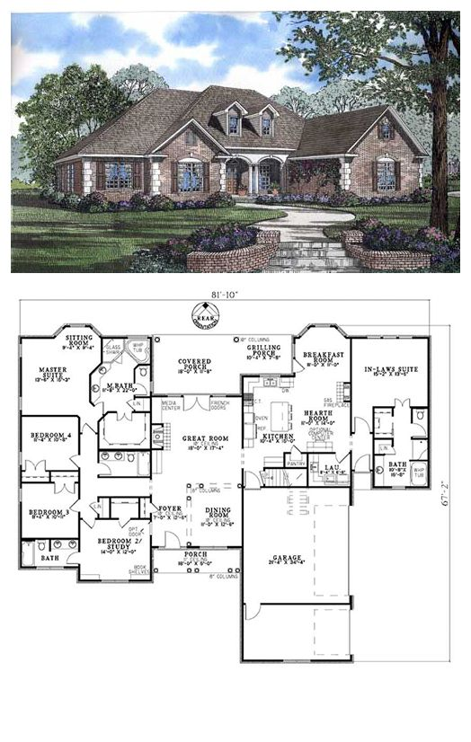 Traditional Style House Plan 62169 With 5 Bed 4 Bath 3 Car Garage Best House Plans New House Plans Dream House Plans