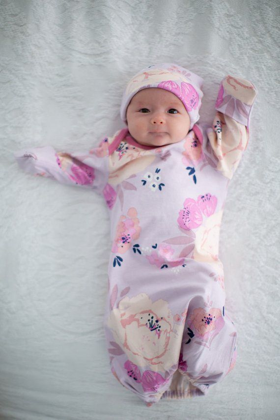 b1c5e00731d 3 PC Set Anais Floral Maternity Nursing NIGHTGOWN   Matching Baby Receiving  GOWN and Newborn Hat b