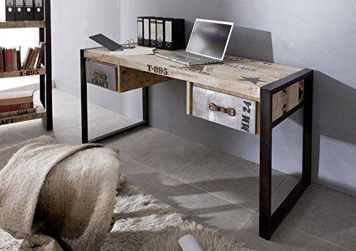 Bois massif meuble imprimé style industriel bois de mangue bureau