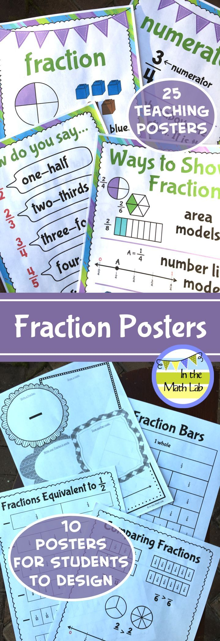 Fraction Posters - Concept and Student Posters | School math ...