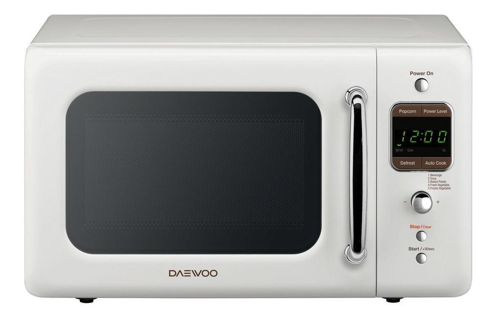 Daewoo 0 7 Cu Ft Retro Countertop Microwave Oven Cream White