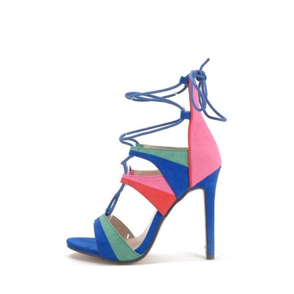 Lace-Up Color Block Stiletto Heel Sandals Blue (95 BRL) ❤ liked on Polyvore featuring shoes, sandals, lace up shoes, color block sandals, stiletto shoes, blue stilettos and blue sandals