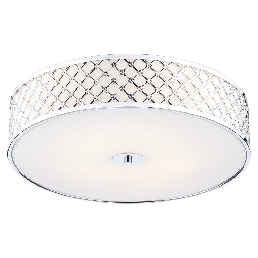 Dar Lighting Civic Large Flush Ceiling Light Chrome From Dusk - Bedroom light fittings uk