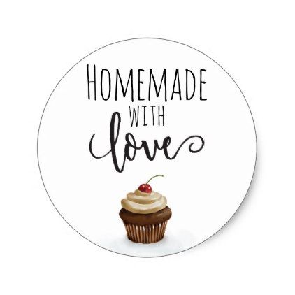 Homemade with love cupcake classic round sticker