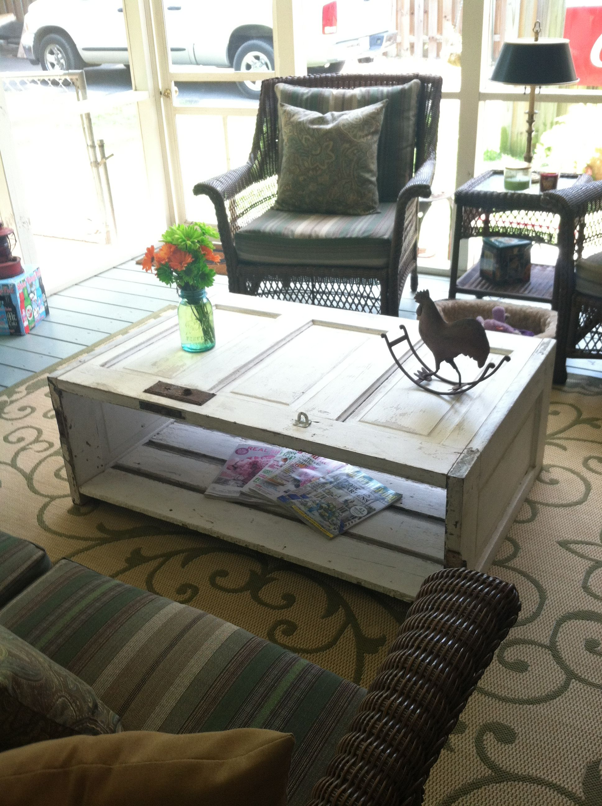 coffee table made from old 5 panel door