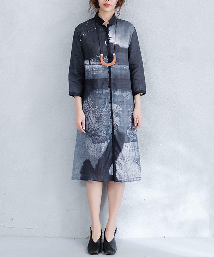 89aa048f882 Chinese Ink Painting Vintage Shirt Dress Linen Designer Shift Dress  dress   black  Chinese  ink  amazing  vintage  summer  retro