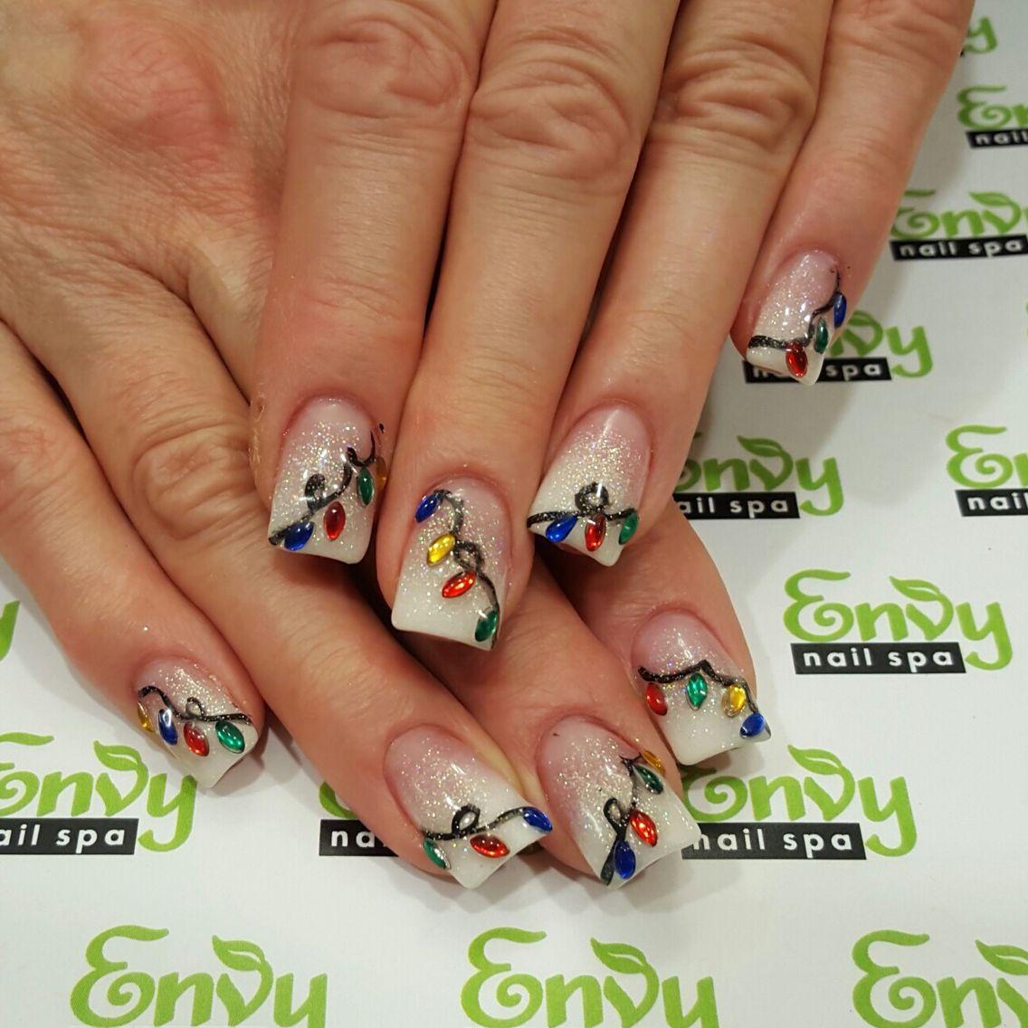 pink glitter white fading rhinestone christmas light nails envy nail spa