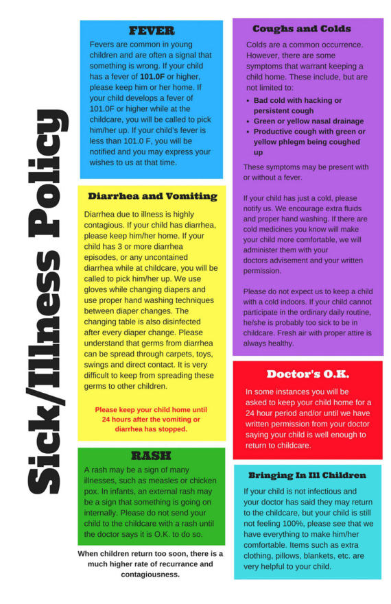 poster  childcare sick  u0026 illness policy