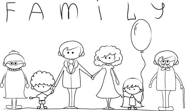 Dibujos Para Pintar Del Dia De La Familia Con Frases Frases Para Whatsapp Coloring Pages Outline Illustration Drawings
