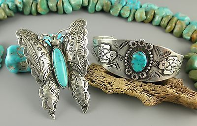 Large-2-5-Ornate-Frilly-Harvey-Era-Blue-Gem-Turquoise-Butterfly-Navajo-Ring