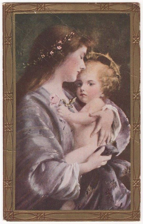 Holy Mother With Her Child Original Antique Art Postcard
