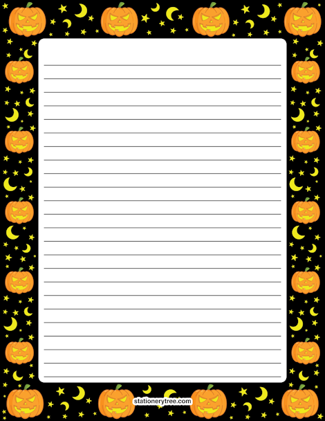 Peaceful image with halloween stationery printable