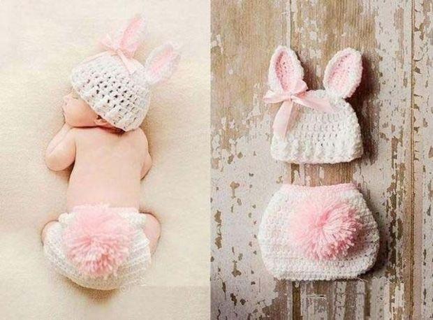 Newborn Baby Rabbit Cap Pants Crochet Costume Girls Boys Prop Photo Photography