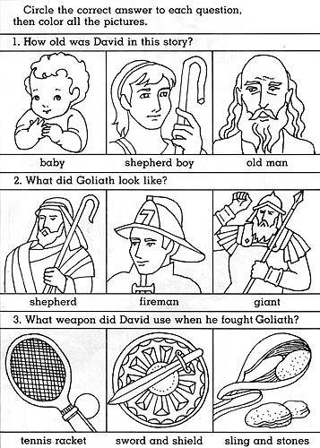 David And Goliath Worksheets Kindergarten
