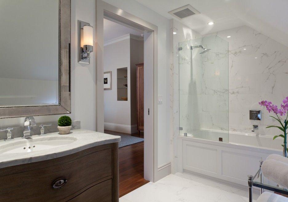 Deluxe Bathtub Shower Combo Design Idea Featuring White Bathroom