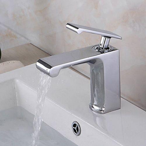 Modern Chrome Finish Centerset Ceramic Valve Widespread Waterfall ...