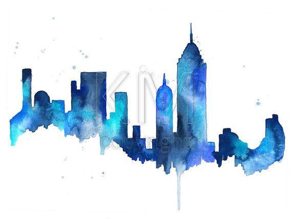 Aquarel Schilderij New York City Skyline Print Wall Art Etsy Kunst Ideeen Creatieve Kunst Horizon Schilderij