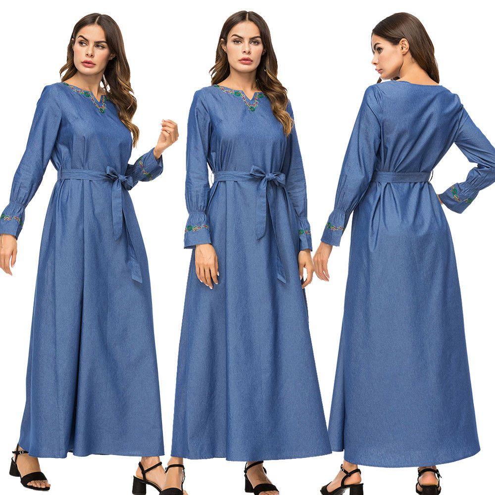 Elegant women denim abaya muslim long sleeve maxi dress dubai gown