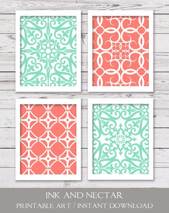 Mint and Coral Art, PRINTABLE Art, Bedroom Art, INSTANT DOWNLOAD, Modern Art, Printable Art Set, Set of 4 Art Prints, Wall Decor is part of bedroom Art Printables -  300 dpi • 4 JPEG files • Due to differences in monitor settings, the colors on your screen may differ slightly from the printed art   DELIVERY • Files are available for instant download  (No physical items will be sent ) You will receive an email with a link to your product downloads once payment is complete  You may also access your downloads by viewing your Etsy Purchases page  TERMS OF USE • For personal use only  Print as many times as you wish, but please do not resell or share files, or sell the printed art  Thanks so much!