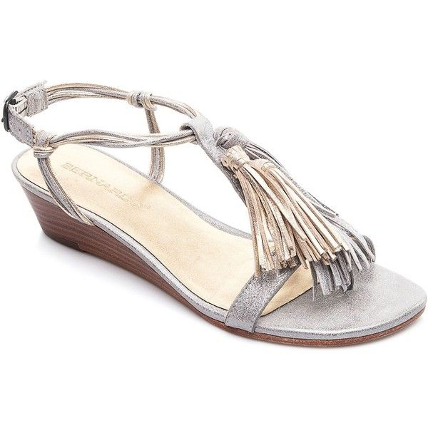 a2b283b0ba56f Bernardo Court Metallic Tassel Demi Wedge Sandals ( 170) ❤ liked on  Polyvore featuring shoes