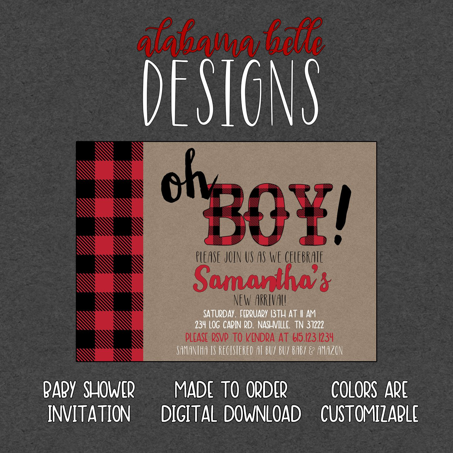 Oh Boy - Plaid Flannel Baby Shower Invitation