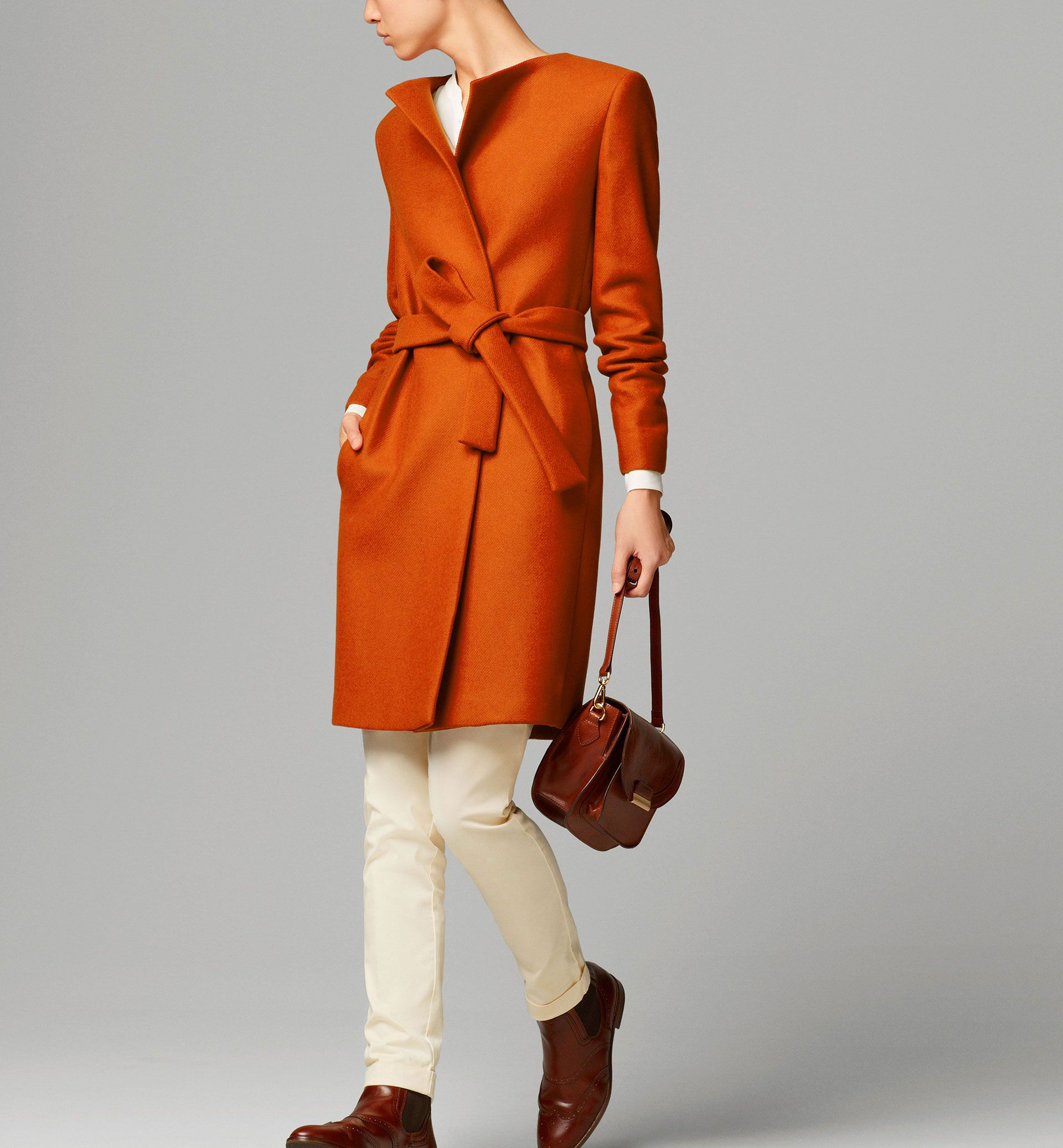 MASSIMO DUTTI | Belted orange coat | 80% wool, 20% polyamide ...