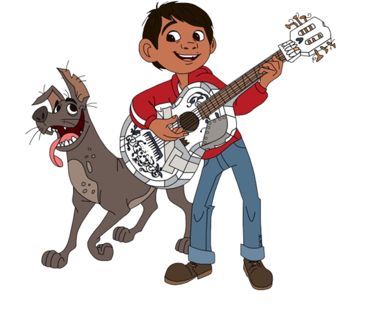 Miguel Rivera With His Handmade Guitar And His Dog Dante From Coco Dibujos Animados Personajes Coco Pelicula