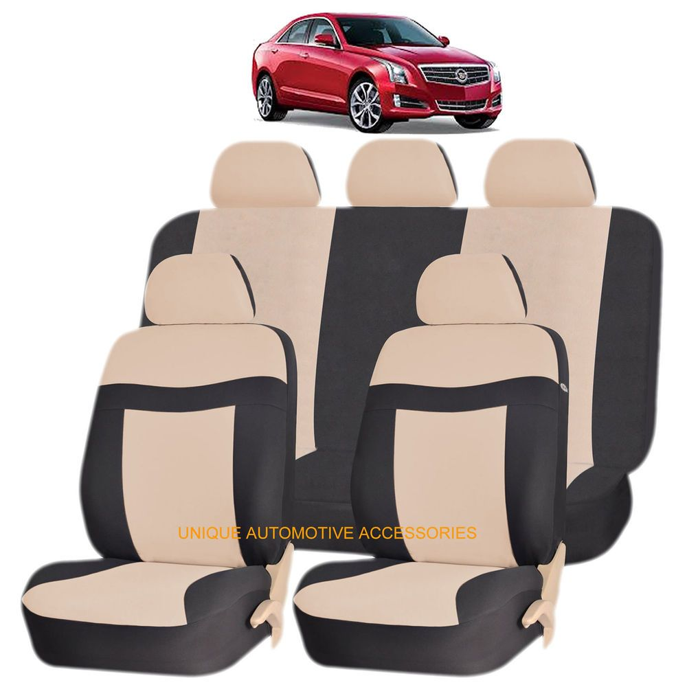 Beige elegance airbag compatible seat cover set for cadillac xlr srx cts uaainc