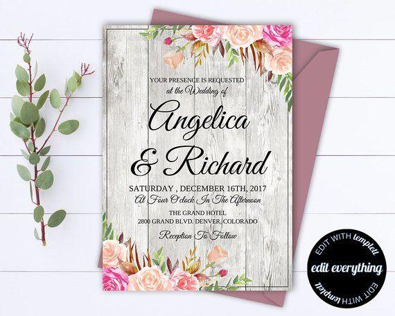 Rustic Floral Wedding Invitation Template Barn Wedding Template
