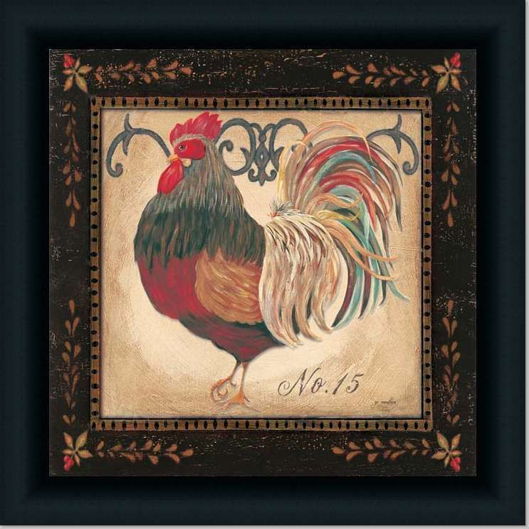 Rooster French Country Kitchen Decor Art Print Framed